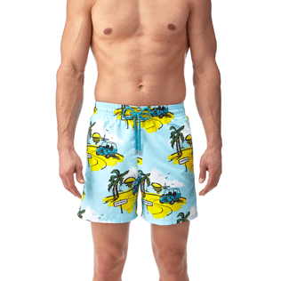 Men Classic / Moorea Printed - Sunny Car Swim shorts, Frosted blue supp2