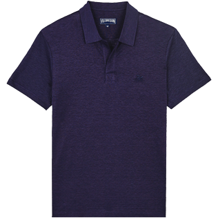 Men Others Solid - Men Linen Jersey Polo Shirt Solid, Midnight blue front