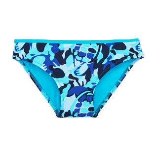 Girls Bottoms Printed - Camouflage Turtles Bikini bottom, Azure front