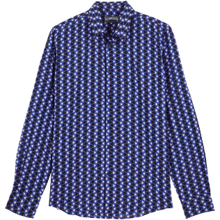Others Printed - Unisex Cotton Voile Light Shirt Re Mi Fa Soles, Royal blue front