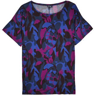 Femme Tee-Shirts Imprimé - Maxi T-shirt Camouflage Turtles, Prune front