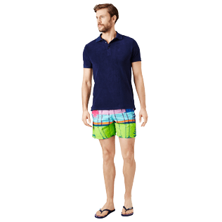 Men Embroidered Embroidered - Men printed and embroidered Swim Trunks Miami - Limited Edition, Sea blue supp2