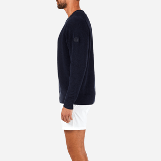 Homme Pulls Uni - Pull Over Coton Lin, Bleu jean supp3