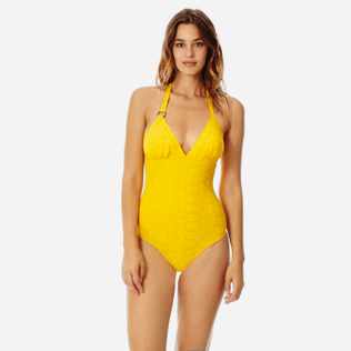 Women One piece Solid - Women triangle one piece swimsuit Ecailles de Tortue, Mango frontworn