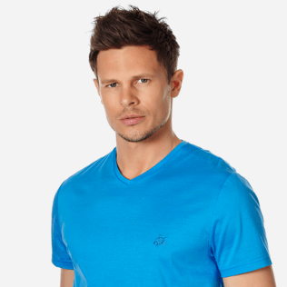 Men Others Solid - Men Mercerized Cotton T-Shirt V-neck Solid, Atoll supp1