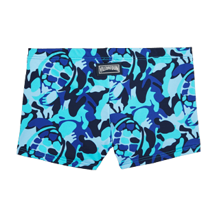 Boys Short, Fitted Printed - Camouflage Turtles Boxer Swimwear, Azure back