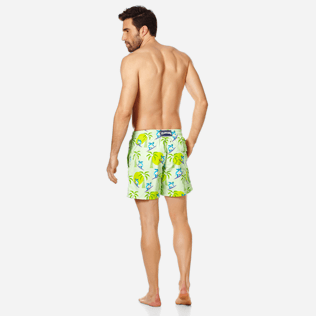 Men Classic Printed - Men Swimwear Surfing Turtles, Aloe backworn