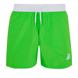 Men Ultra-light classique Solid - Men Swim Trunks Ultra-Light and Packable Solid Bicolore Fluo, Neon green front