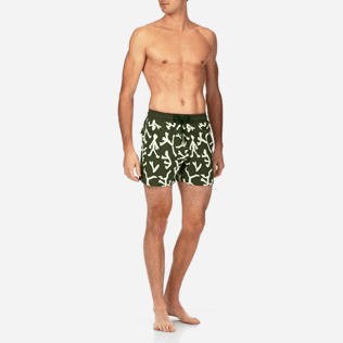 Men Stretch classic Printed - Danse du Feu Glow in the Dark Superflex Swim shorts, Olive frontworn