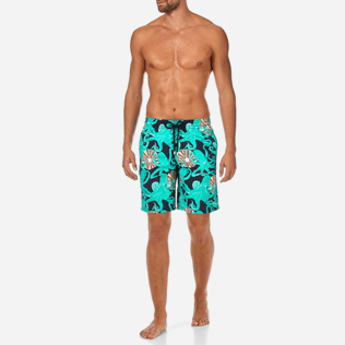 Men Long Printed - Octopussy et Coquillages Long Cut Swim shorts, Navy frontworn