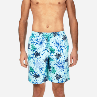 Men Long Printed - Long Cut Swim shorts, Lagoon supp1