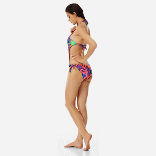 Women Trikini Printed - Women trikini one piece swimsuit Porto Rico, Bright orange backworn