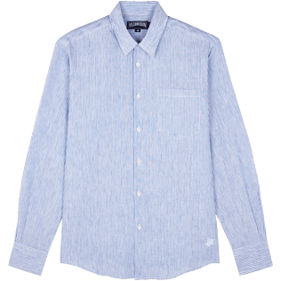 Men Others Graphic - Stripped Linen shirt, Sky blue front