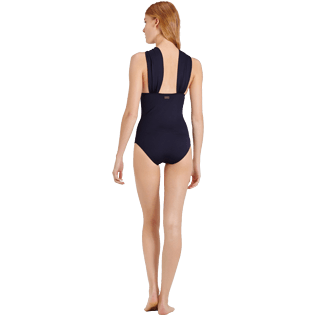 Women One piece Solid - Women Draped One piece Swimsuit Solid, Black backworn