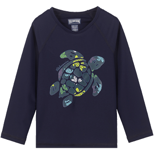 Others Printed - Kids Rashguard Ronde des tortues, Navy front