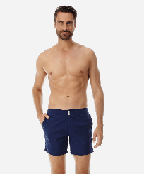 Men Flat belts Solid - Men Flat Belt Stretch Swim Trunks Solid, Navy frontworn
