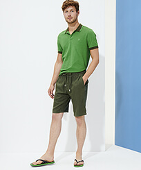 Men Others Solid - Men Linen Bermuda Short Solid, Pepper frontworn