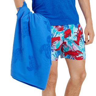Others Solid - Beach Towel Fouta Jacquard Tortues, Royal blue backworn