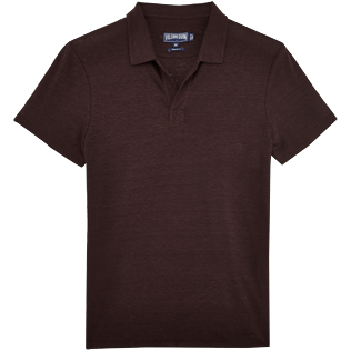 Men Polos Solid - Solid Linen jersey polo, Chocolate front