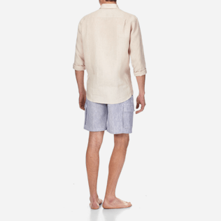Men Others Solid - Men Linen Shirt Solid, Chalk backworn