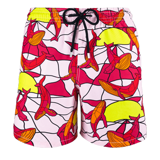Men Classic / Moorea Printed - Men Swimtrunks Magic Whales, Shocking pink front