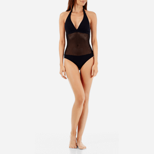Women One Piece Solid - Women One Piece Swimsuit Solid Net, Black supp4