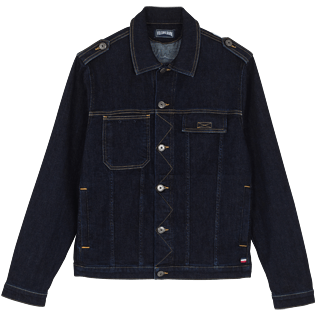 Men Others Solid - Men Denim Tracker Jacket, Dark denim w1 front
