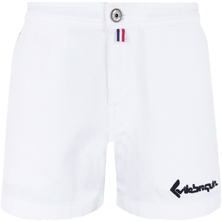 Men Others Solid - Men White 70s Shorts, White front