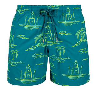 Men Embroidered Embroidered - Men Embroidered swimtrunks St Tropez - Limited Edition, Pine wood front