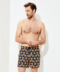 Men Classic Embroidered - Men Swim Trunks Embroidered Indian Ceramic - Limited Edition, Sapphire frontworn