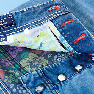 男款 Others 印制 - Men 5 Pockets Tropical Turtles Printed Denim Pants, Med denim w2 supp5