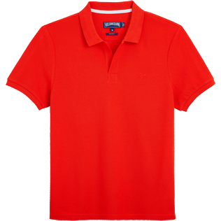 Men Polos Solid - Solid Cotton pique polo, Poppy red front