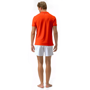 Men Polos Solid - Cotton pique polo, Poppy red supp2