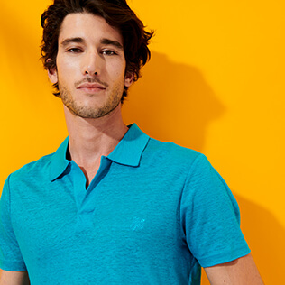 Men Others Solid - Men Linen Jersey Polo Shirt Solid, Light azure supp3