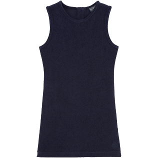 Girls Dresses Solid - Solid Terry Sleeveless dress, Navy front