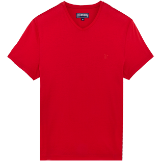 Men Others Solid - Men Mercerized Cotton T-Shirt V-neck Solid, Red polish front