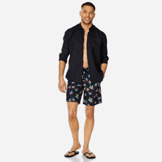 Men Long classic Printed - Men Swim Trunks Long Over the Rainbow Turtles, Black supp2
