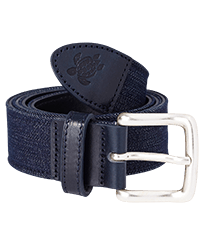 Men Others Solid - Men Leather and Denim Belt, Jeans blue front