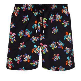 Men Classic Printed - Men Swim Trunks Over the Rainbow Turtles, Black front