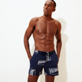 Men Stretch classic Printed - Men Stretch Swim Trunks Vilebrequin labels, Navy frontworn