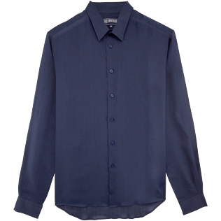 Others Solid - Unisex Linen Voile Shirt Solid, Navy front