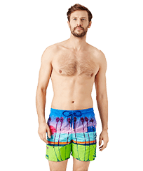 Men Embroidered Embroidered - Men printed and embroidered swimwear Miami - Limited Edition, Sea blue frontworn