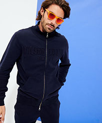 Men Others Solid - Men Cotton Front Zip Sweatshirt, Navy frontworn