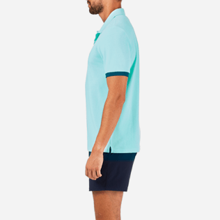 Men Others Solid - Solid Cotton pique polo, Lagoon supp3