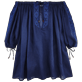Women Dresses Embroidered - Women Off shoulder Linen Voile Dress Solid, Navy front