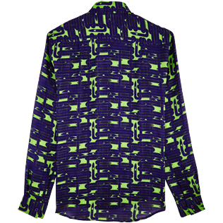 Others Printed - Unisex Linen Jersey Shirt Eels Knitting, Wasabi back