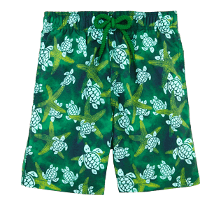 Boys Others Printed - Boys Swimtrunks Starlettes & Turtles Vintage, Malachite green front