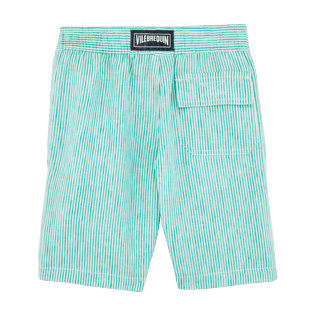Boys Shorts Graphic - Boys Linen Bermuda Shorts Micro Stripes, Veronese green back