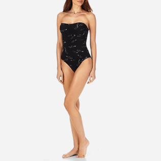 Women One Piece Printed - Women Bustier One Piece Swimsuit Fish Dance, Black supp3