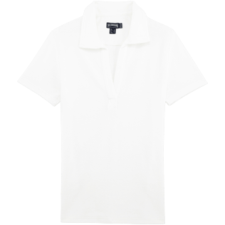 Women Others Solid - Women Terry Cloth Polo shirt Solid, White front